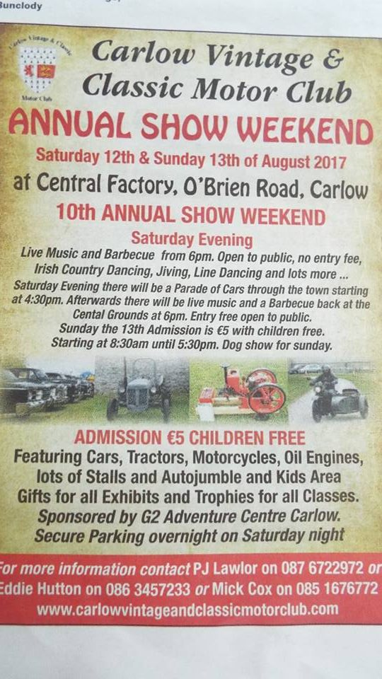 Kilkenny Motor Club Vintage Car Club Kilkenny Ireland CARLOW - Car show trophy categories